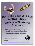 Descriptive Writing - variety of sentence starters