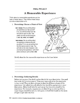 Descriptive Writing:The Writing Process:Develop Ideas/Final Proj:A Memo Experien