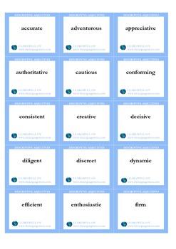 Descriptive adjectives flash cards