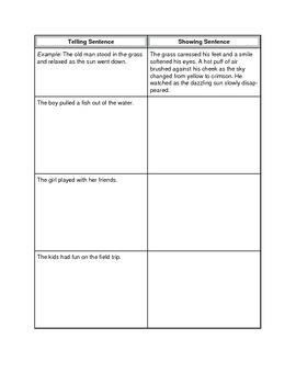 Descriptive writing - showing vs. telling sheet