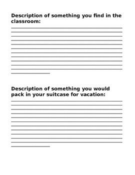 Descriptive/Expository Writing Mental Sacvenger Hunt