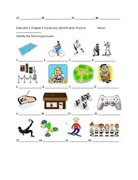Descubre 1 Chapter 4 Vocabulary Identification Practice/Quiz