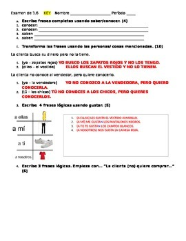 Grammar test - gustar, demons adj, clothing, saber/conocer, direct objects