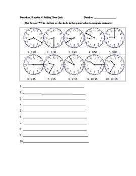 Descubre 1 Lección 1 Telling Time Quiz