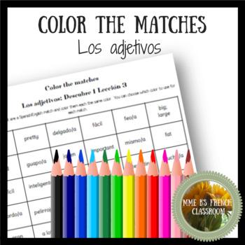 Descubre 1 Lección 3: Color the matches: los adjetivos