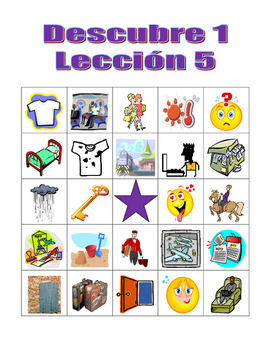 Descubre 1 teaching resources teachers pay teachers descubre 1 leccin 5 bingo game descubre 1 leccin 5 bingo game fandeluxe Image collections