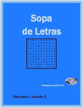 Descubre 1 Lección 5 wordsearch