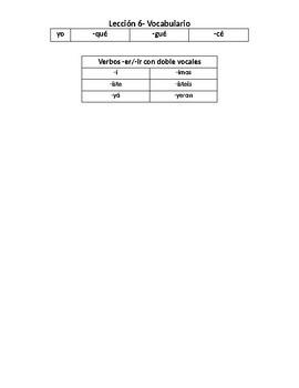 Descubre 1 Lección 6 Vocabulary List