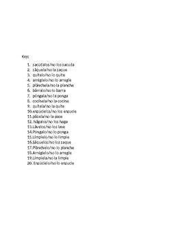 Descubre 2 Chapter 3 Formal Commands & Pronouns Quiz