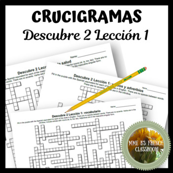 Descubre 2 Lección 1 Crucigramas Vocabulary crossword puzzles