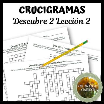 Descubre 2 Lección 2 Crucigramas Vocabulary crossword puzzles