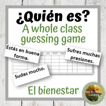 """Descubre 2 Lección 6: ¿Quién es? A whole class speaking game """"el bienestar"""""""