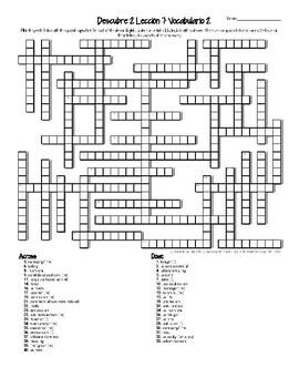 Descubre 2 Lección 7 Crucigramas El mundo del trabajo crossword puzzles