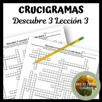 Descubre 3 Lección 3 Crucigramas Vocabulary crossword puzzles