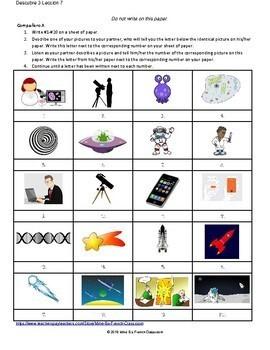 Descubre 3 Lección 7: La Ciencia  Partner matching activity