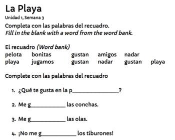 Descubre el español B - Unidad 1 - La playa - Flashcards - Worksheets