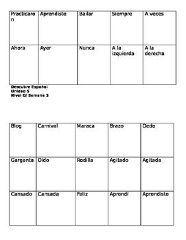 Descubre español, Unidad 5, Nivel D, Tarjetas de vocabulario