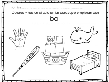Descubriendo Silabas Iniciales/ Discovering beginning syllable sounds SPANISH