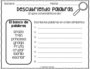Descubriendo palabras – A Spanish Phonics Center for R blends