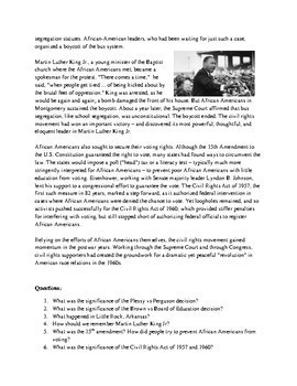 Desegregation & Civil Rights Reading and questions