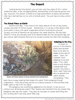 Desert Reading Comprehension and Differentiated Questions