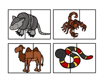 Desert Animal Puzzle Cards