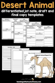 Informational Writing Templates | Desert Animals Writing | Animals Research
