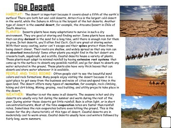Desert Animal and Habitat Research Informative and Narrative writing