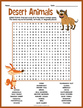 Desert Animals Word Search Puzzle