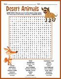 Desert Animals Activity - Word Search FUN