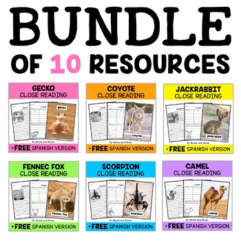 Desert Animal Close Reading Passages Bundle