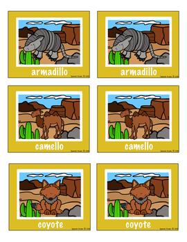Desert Animals Vocabulary Activities (Spanish)