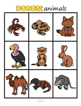 Desert Animals Bingo for Preschool and Pre-K