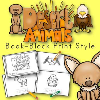 Desert Animals Book for Kindergarten and 1st Grade {Block Print Style}