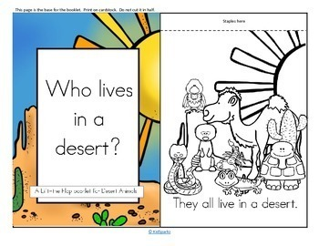 Desert Animals Emergent Reader Flip Book Vocabulary Puppets