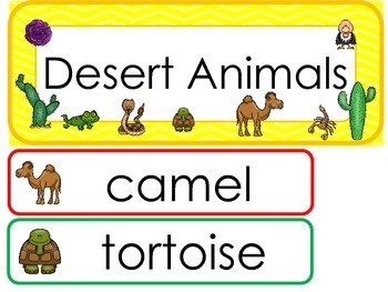 Desert Animals Word Wall Weekly Theme Posters.
