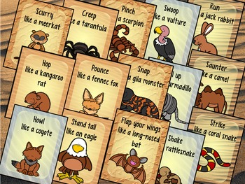 Desert Animals Movement Cards for Preschool