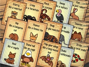 Desert Animals Movement Cards for Preschool and Brain Break