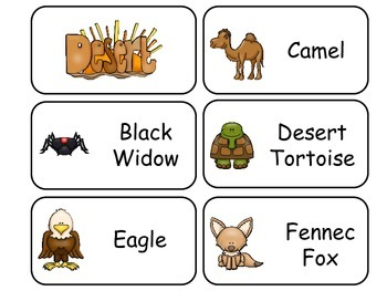 Desert Animals Picture Word Flash Cards. Preschool flash cards for children.