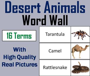 Desert Animals Word Wall Cards