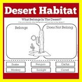 Desert Animals Worksheet | Desert Activity | Desert Habitat Cut and Paste