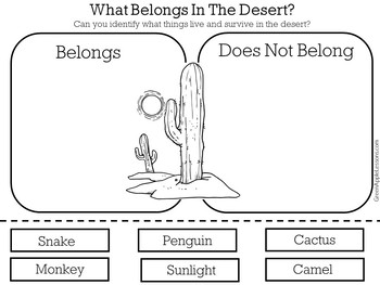 Desert Animals Worksheet | Desert Activity | Desert Habitat Cut and Paste
