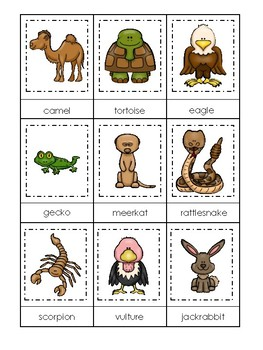 photograph relating to Animal Matching Game Printable named Desert Pets themed 3 Aspect Matching Sport. Printable Preschool Match