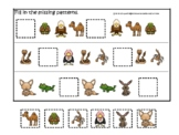 Desert Animals themed Fill In the Missing Pattern Game. Printable Preschool Game