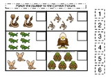 Desert Animals themed Match the Number Game. Printable Preschool Game