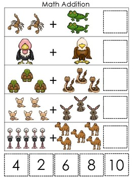 picture regarding Printable Addition Games named Desert Pets themed Math Addition Recreation. Printable Preschool Match