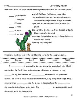 Desert Biome Habitat Science Pack (Worksheets, Vocabulary, Chart, Foldables)