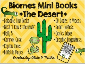 Desert Biome Mini Book NGSS Common Core QR Codes Daily 5