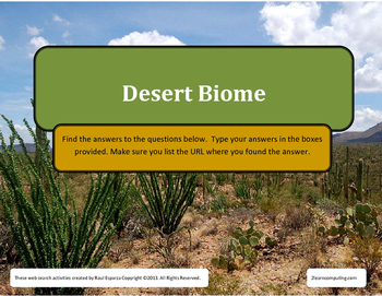 Desert Biome Web Search for Teens
