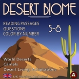 Desert Biomes: Reading, Color-by-Number Worksheet, and Mapping